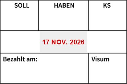 Bild von Datumstempel Buchung/Bezahlt